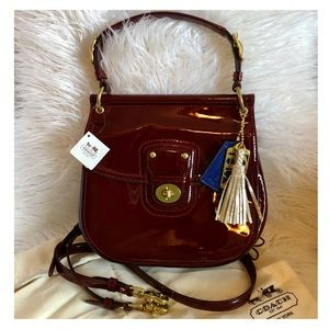 COACH Willis Crimson Patent Crossbody Tote Bag NWT
